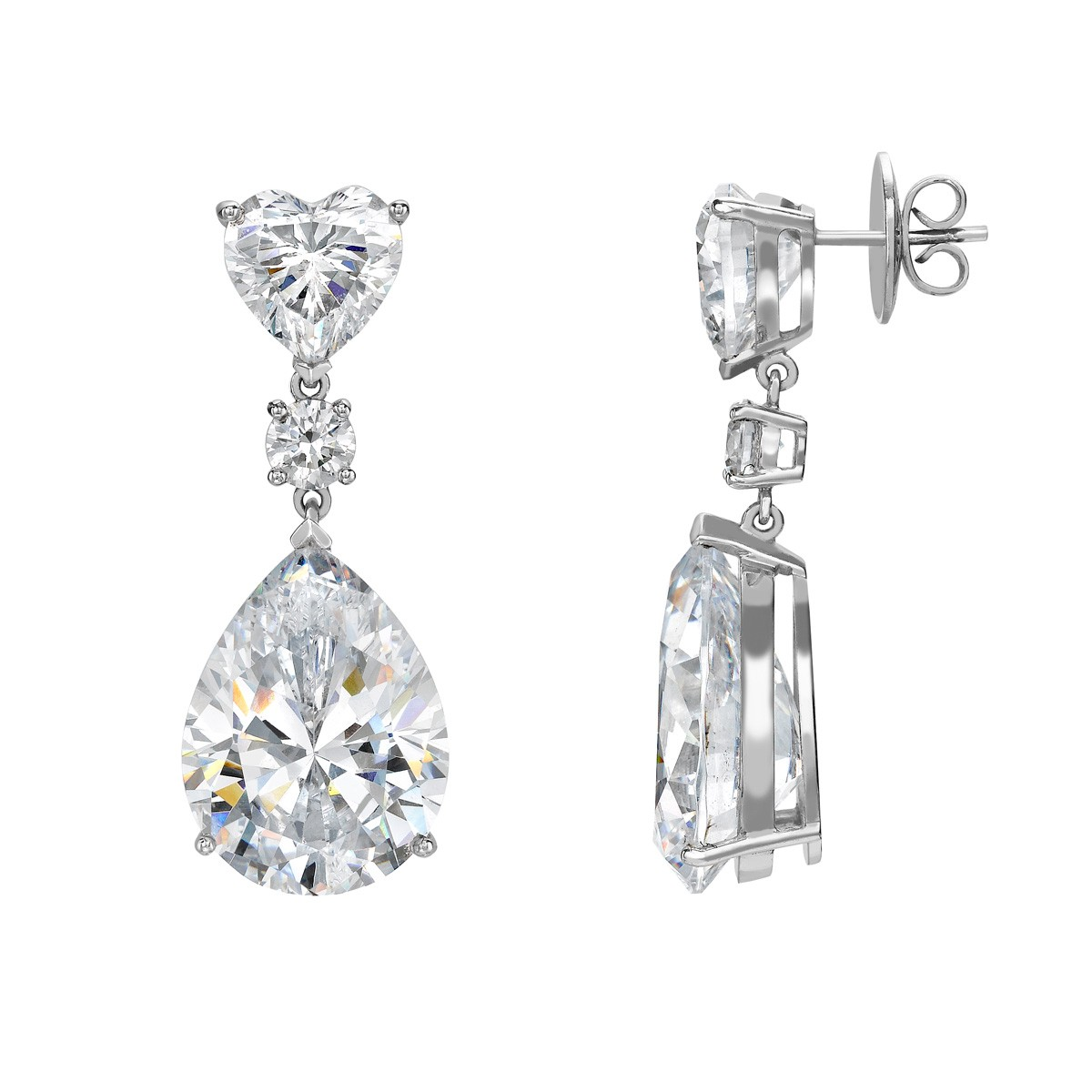 Heart with Pear Drop Ear Studs - Riverton Diamonds in White Gold