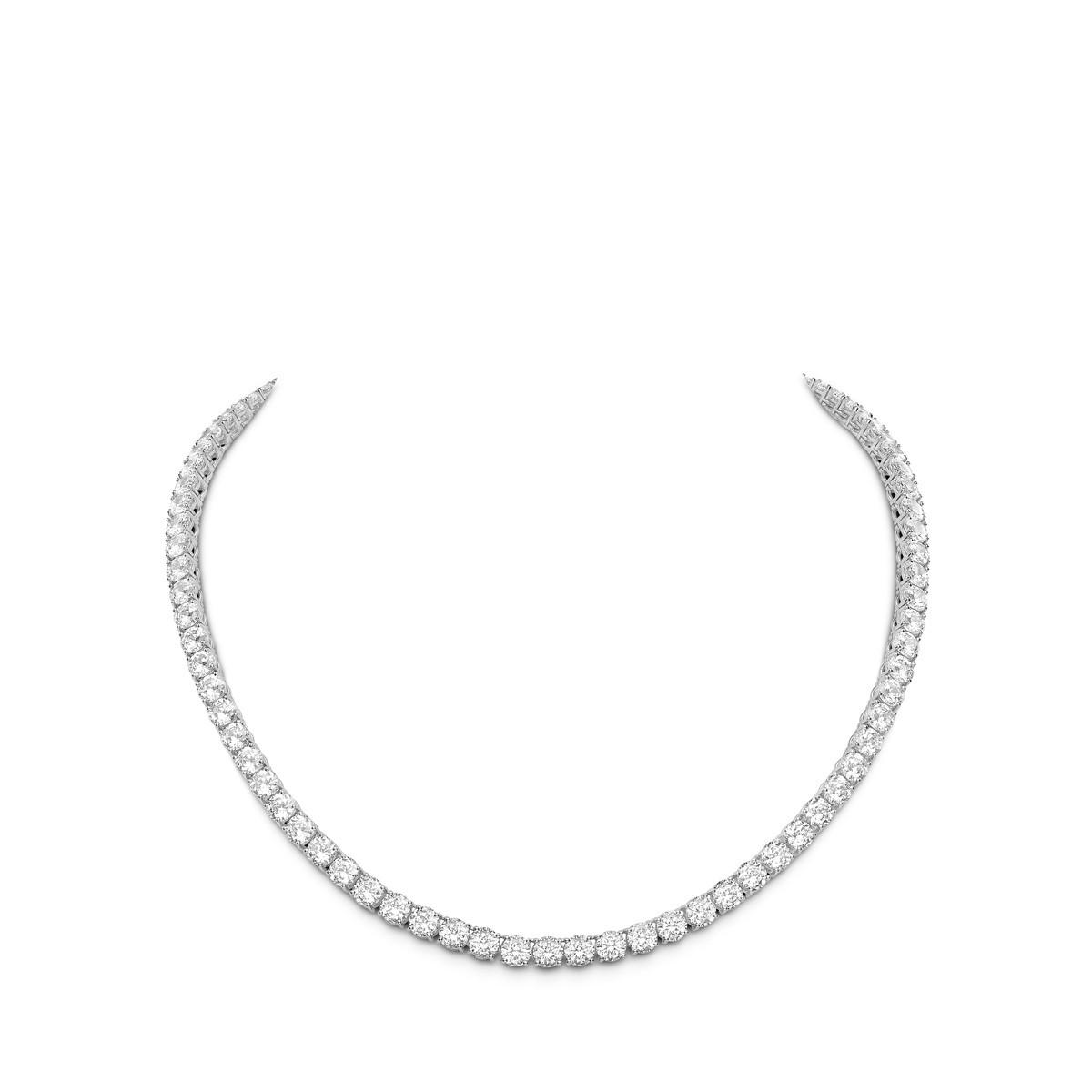 Line Necklace - Isomorphic Diamonds in White Gold
