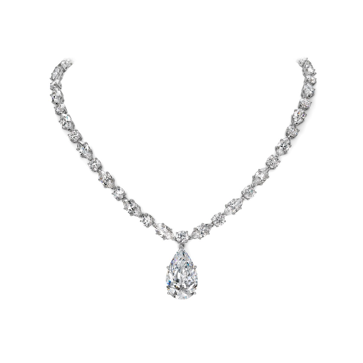 Marquise & Round Necklace - Riverton Diamonds in White Gold