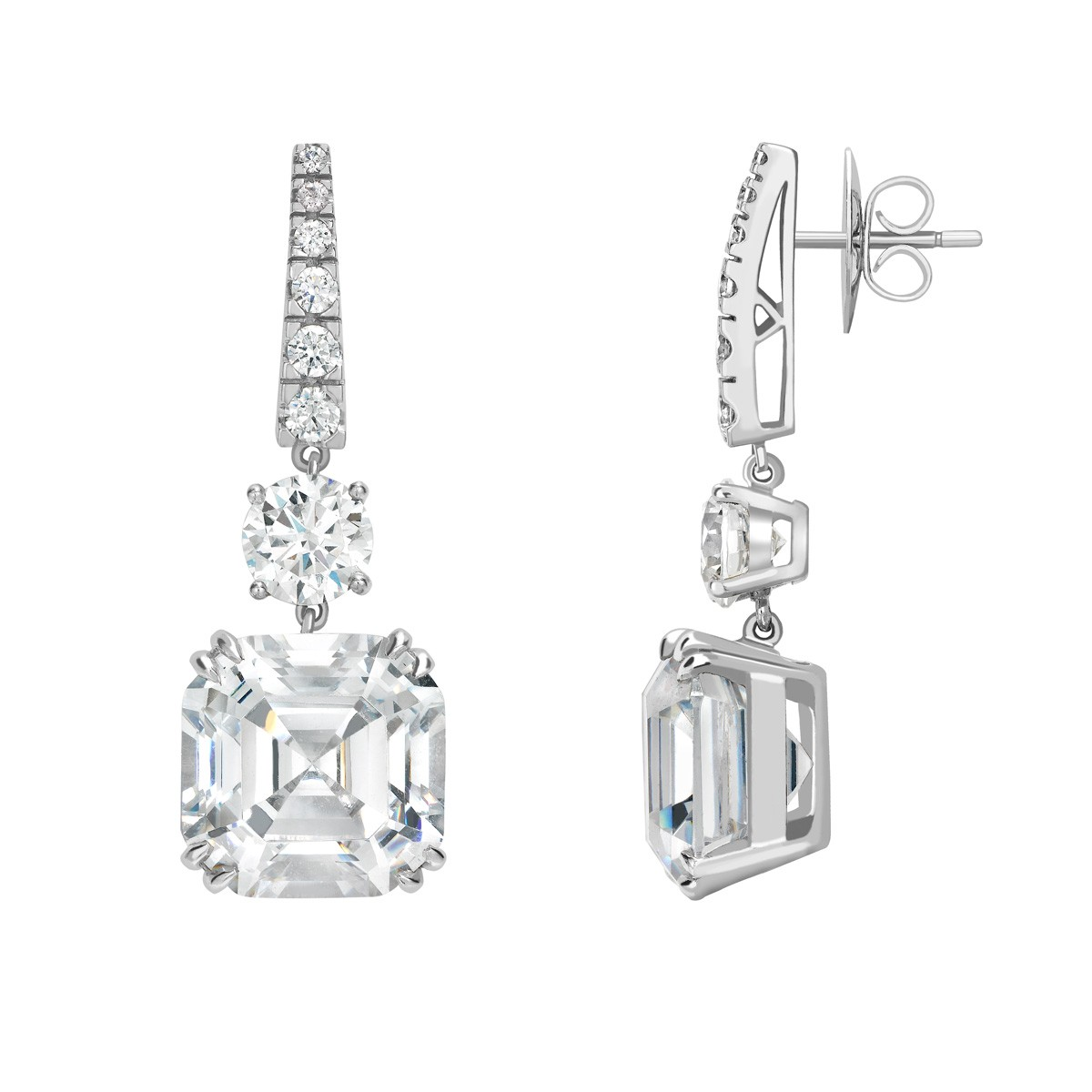 Radiant Ear Studs - Riverton Diamonds in White Gold