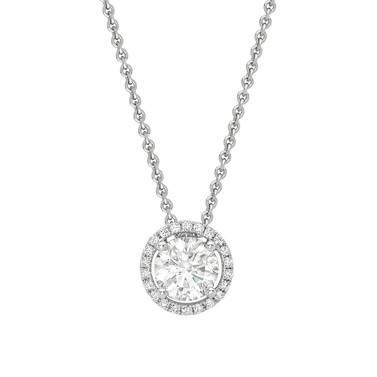Round Halo Pendant - Riverton Diamonds in White Gold