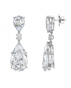 Pear with Pear Drop Ear Studs - Riverton Diamonds in White Gold