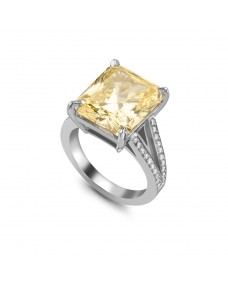Radiant Cut Ring - Riverton Diamond in White Gold with Pavé