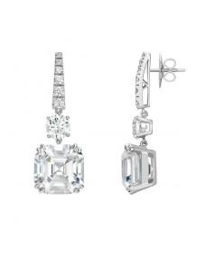 Radiant Ear Studs - Riverton Diamonds in White Gold